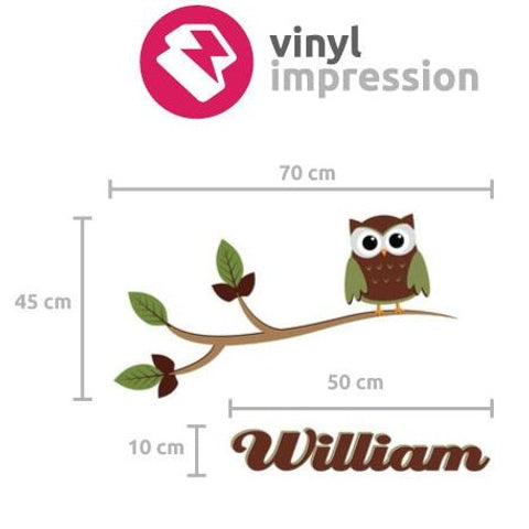 Kids owl wall sticker with personalised name size