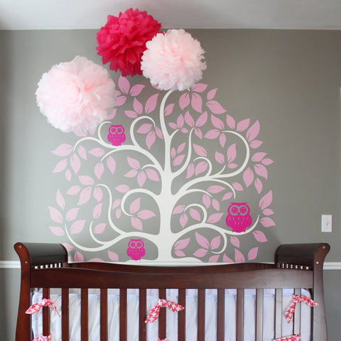 Owls in the trees Wall sticker curly large tree design in pink for girls bedroom