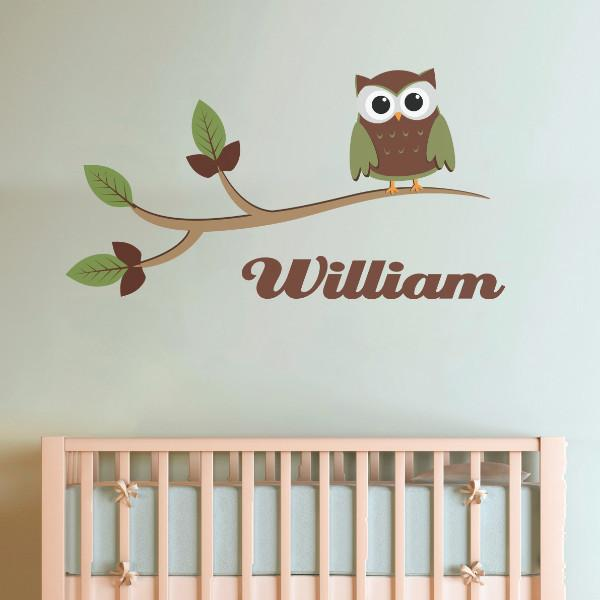 Owl on a branch with name, spring Vinyl Wall Sticker in Quotes and Words by Vinyl Impression