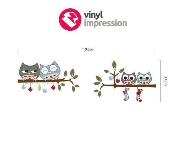 Owls & Baubles decoration wall sticker in  by Vinyl Impression