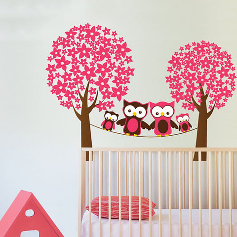 Owls in the trees wall sticker decal for wall art in girls bedroom
