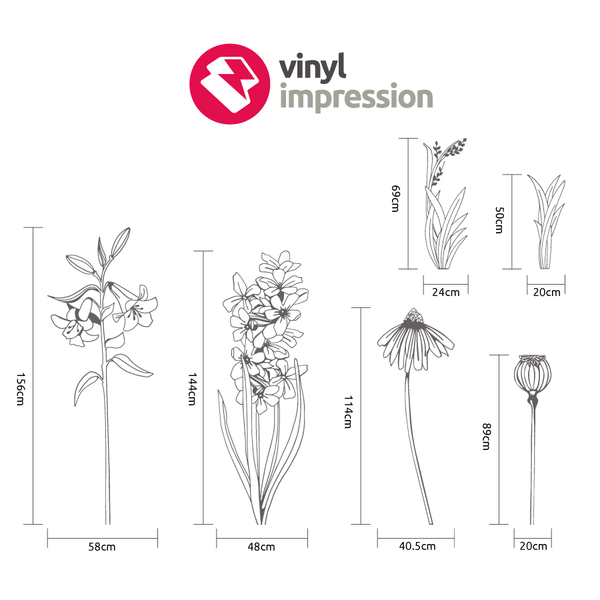 Hand drawn flower pack 1 in  by Vinyl Impression
