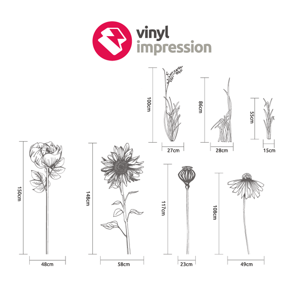 Hand drawn flower pack 2 in  by Vinyl Impression