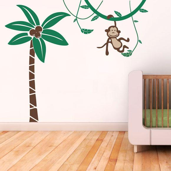 Palm Tree and Monkey Vinyl Wall Sticker Life Size in Home by Vinyl Impression