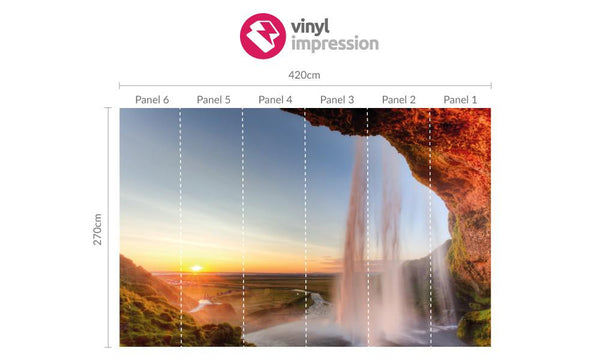 Premium Sunny Waterfall Wall Mural (Laminated) in Office by Vinyl Impression