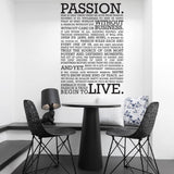 The definition of Passion Wall sticker in  by Vinyl Impression