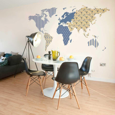 Patterned world map wall sticker