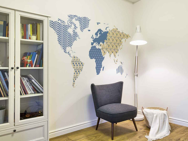 Patterned world map wall sticker in  by Vinyl Impression