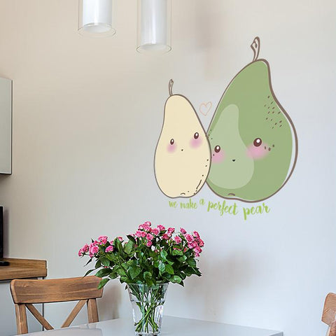 The perfect pear sticker mock up above kitchen table