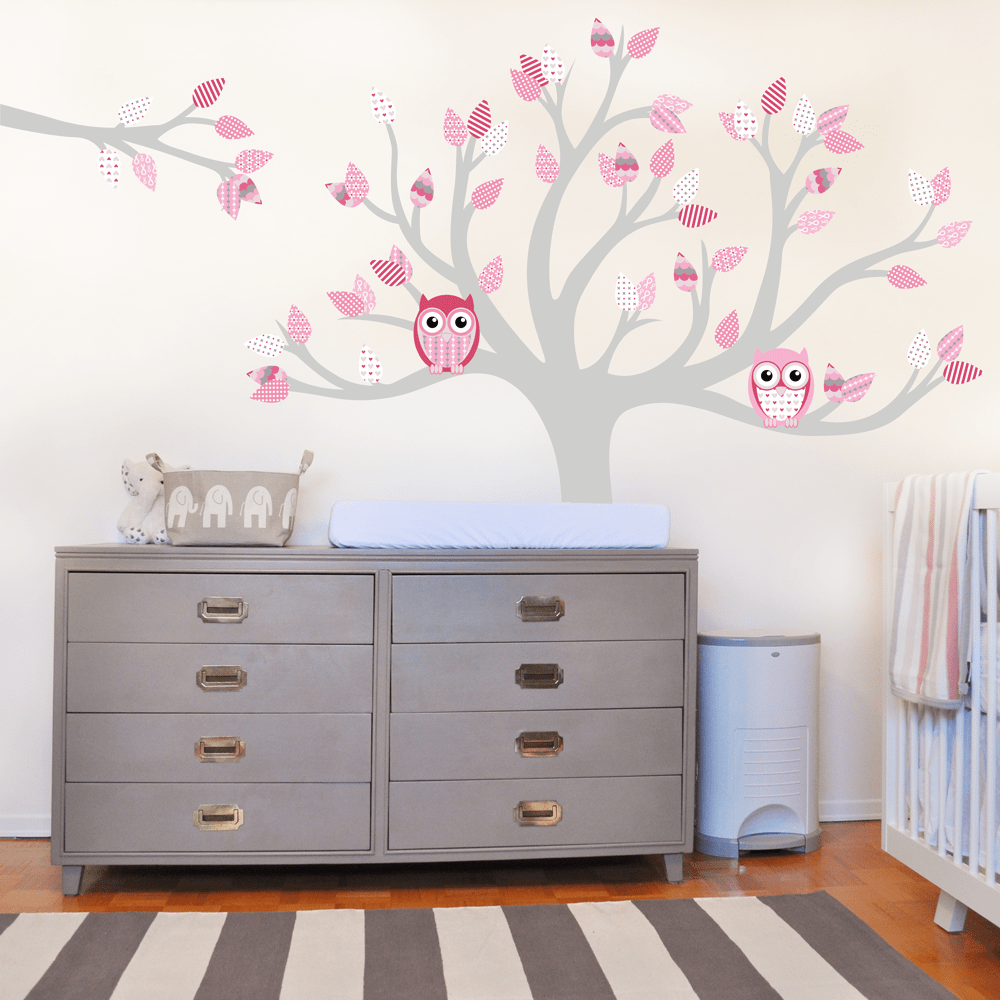 Tree Wall Sticker Decal Wall Graphic With Owls And Pink Pattern Leaves.
