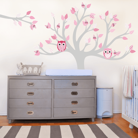 Tree wall sticker decal wall graphic with owls and pink pattern leaves. This Removable wall vinyl sticker perfect for nurseries and girls bedrooms