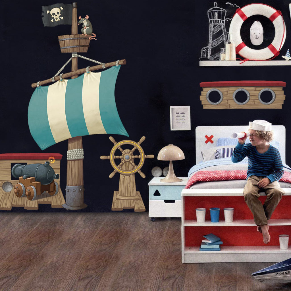 Pirates Kids Wall Decal: Pirate Ship Wall Stickers Pack, Boys Huge Wall Decal Set