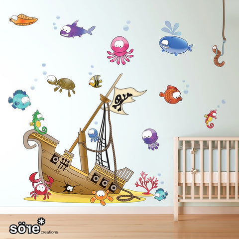Sunken pirate ship wall sticker pack for decorating children's bedrooms.