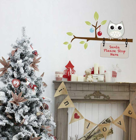 Santa please stop here removable wall sticker Christmas decoration
