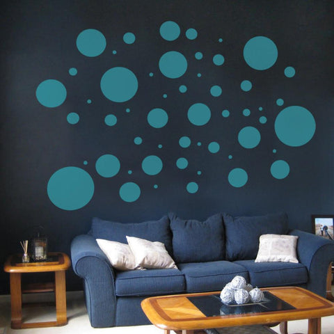Polka dot vinyl wall sticker decals in cut removable vinyl