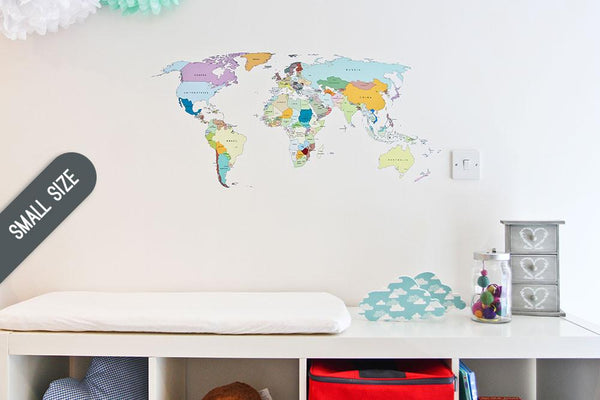 Printed world map wall sticker in  by Vinyl Impression