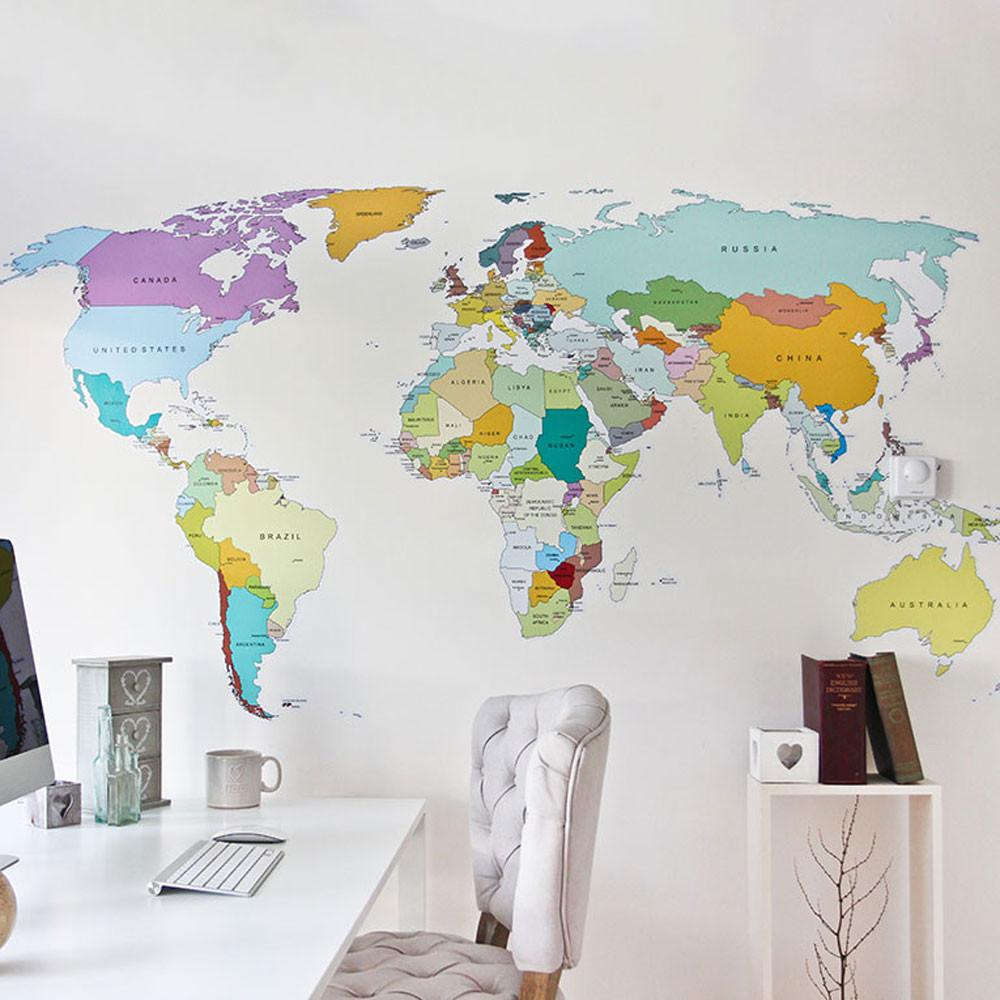 Printed World Map Vinyl Wall Sticker Decal Graphic ...