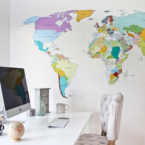 printed world map with countries decal sticker for homes and offices