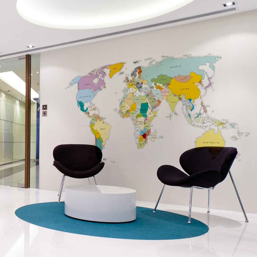 Printed World Map Wall Sticker In By Vinyl Impression ...