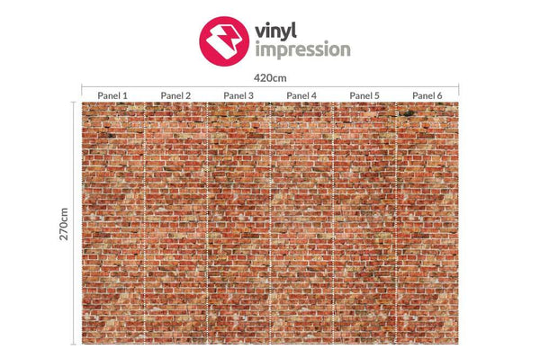 Premium Red Brick Wall Mural (Laminated) in  by Vinyl Impression