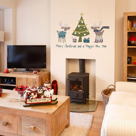 Reindeer with presents Christmas decoration wall sticker