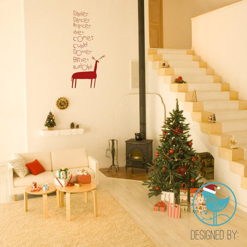 Reindeer names removable vinyl wall sticker Christmas decoration