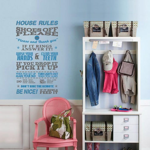 wall sticker of home rules. Funny word based wall decal for interior design projects.