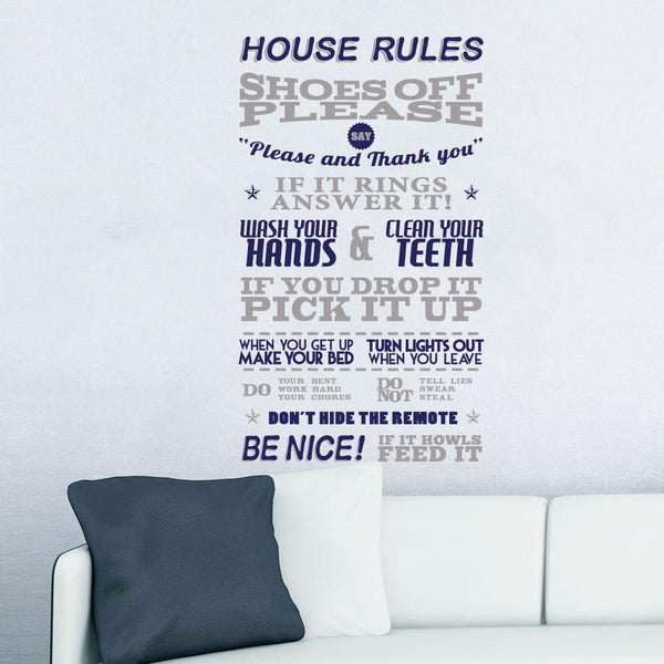 Rules for the home Wall Sticker in  by Vinyl Impression