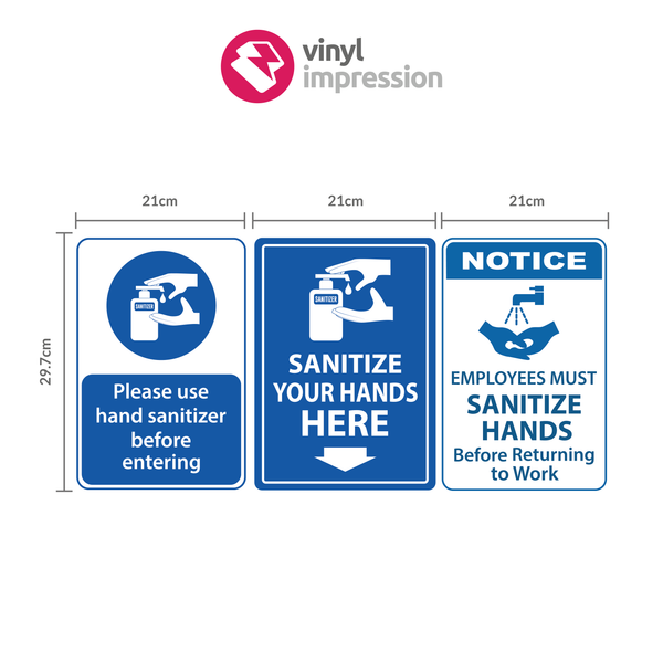 A4 Hand Sanitiser Wall Sticker Pack in  by Vinyl Impression