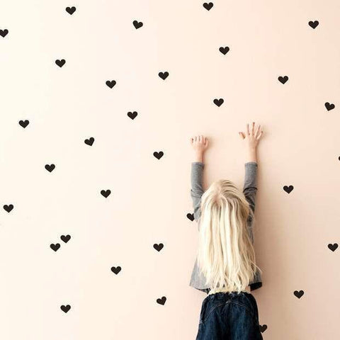 Small heart wall sticker decals for interior decor and design. Mini wall sticker pack for kids bedrooms