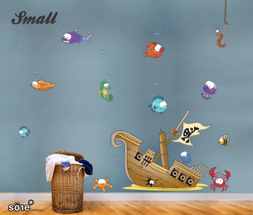 Pirates Kids Wall Decal: Pirate Wall Stickers, Ship Scene For Kids. This Printed