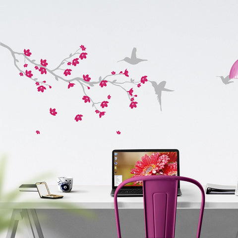 Branch with blossom and birds Wall Decal - Removable Vinyl Wall Stickers