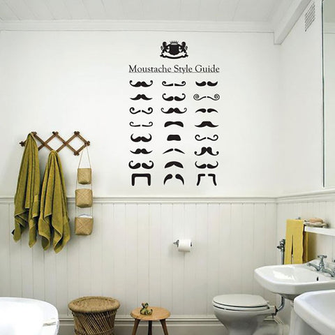 vintage and retro style moustache style wall sticker decal.