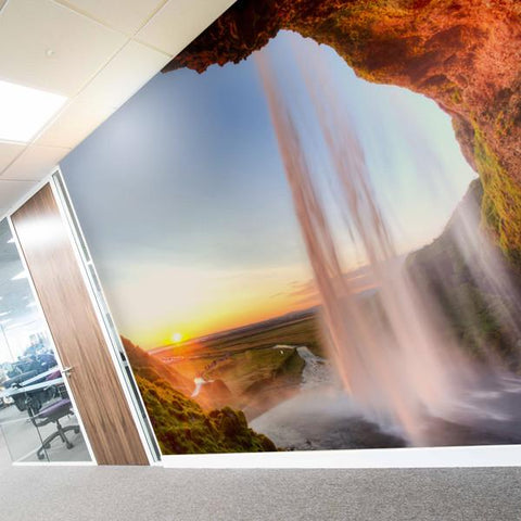 Sunny waterfall wall mural in an office