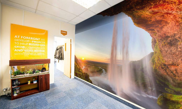 Premium Sunny Waterfall Wall Mural (Laminated) in  by Vinyl Impression
