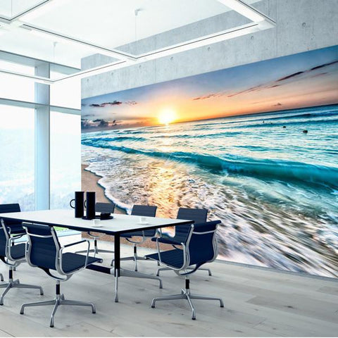 Sunset Beach wall mural in an office