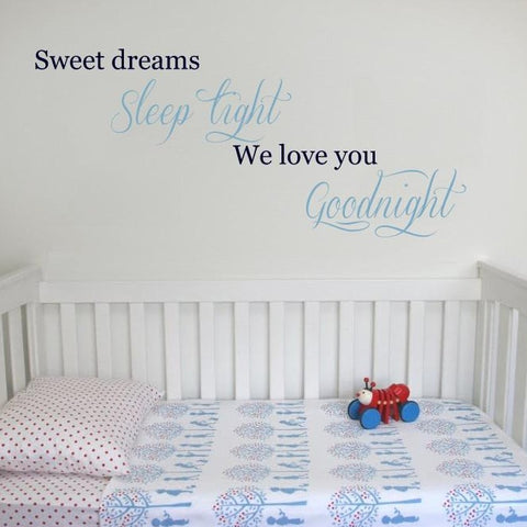 Sweet Dreams wall sticker design for kids bedroom
