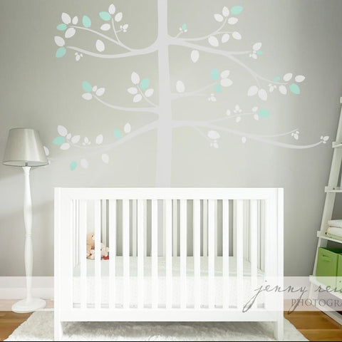 Kids nursery tree in pastel colours subtle wall decal