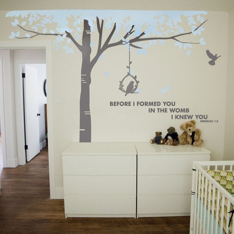 Grey and ble tree for boys bedroom, tall tree with text designed decal