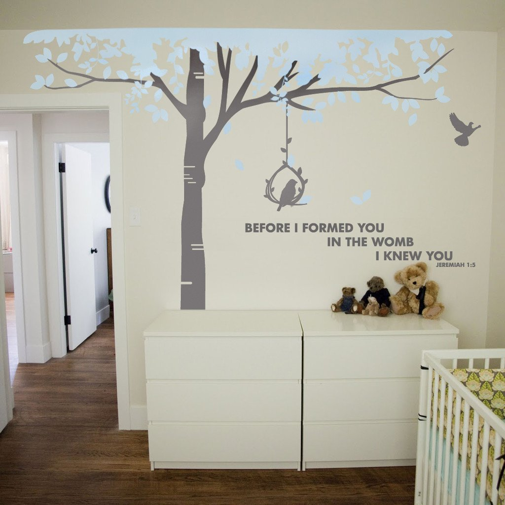Tall tree wall sticker by vinyl impression in the uk this tree vinyl wall de - Objet deco chambre bebe ...