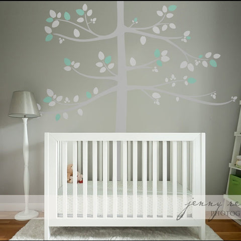 Kids Nursery Tree In Pastel Colours Subtle Wall Decal Wall Decal Stickers Uk  Transfer For Baby Room, Mint And Grey Tall Tree Transfer Part 81