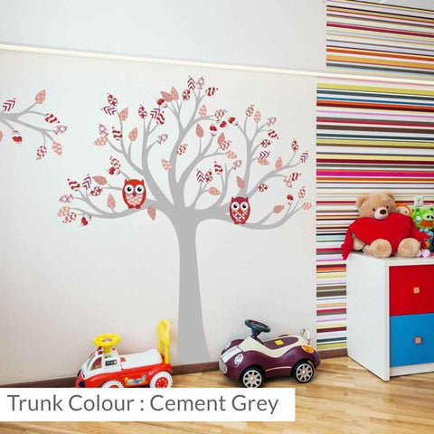 Tree with patterned leaves Red wall sticker