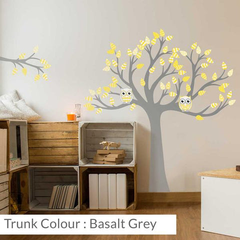 Tree with patterned leaves Yellow mock-up