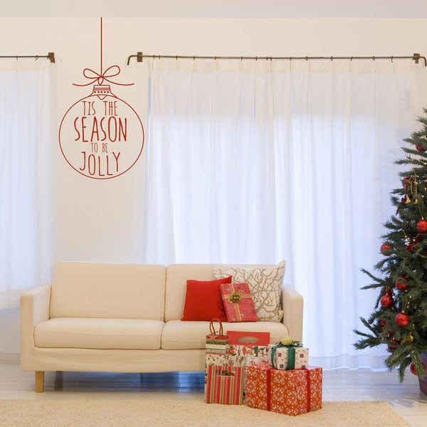 Tis the season Bauble Christmas decoration wall sticker in  by Vinyl Impression