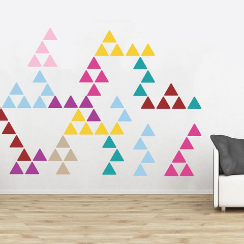 Pack of individual triangle wall sticker decals for interior design home projects and office fit outs