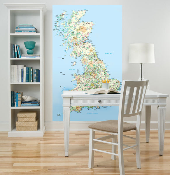 UK Printed Map Wall Sticker in Popular by Vinyl Impression