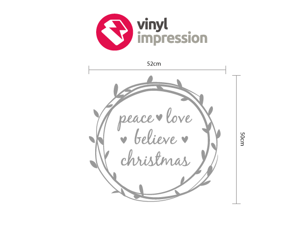 Peace at Christmas wreath decoration wall sticker in  by Vinyl Impression