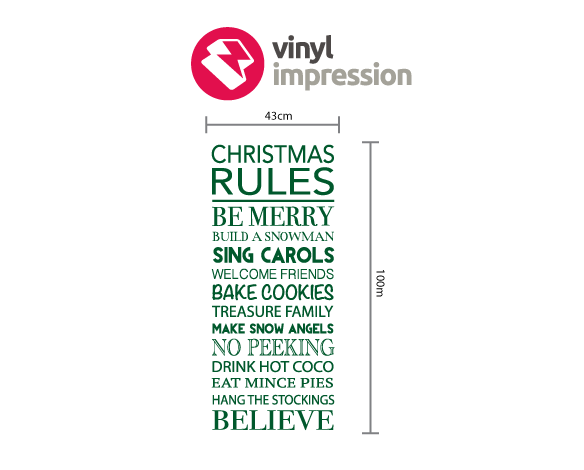 Christmas rules decoration wall sticker in  by Vinyl Impression