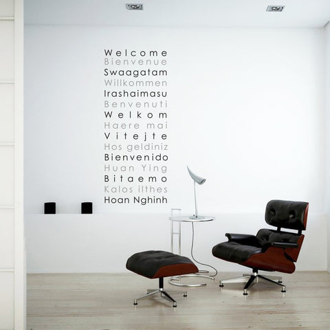 Welcome in different languages wall art sticker decal for homes and offices.