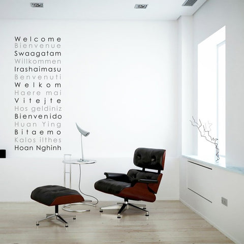 International welcome languages wall art sticker decal.